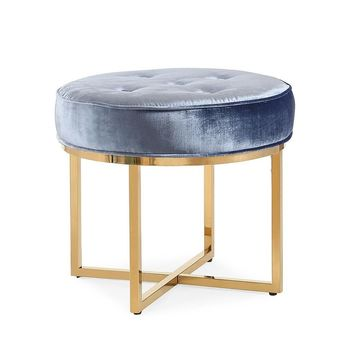Layla Shimmery Blue Velvet Ottoman and Gold