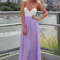 Light Purple Strapless Pleat Maxi Dress with Lace Bodice