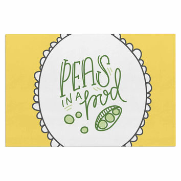 "Busy Bree ""Peas In A Pod"" Yellow Green Decorative Door Mat"