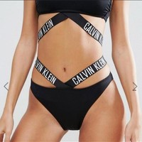 Calvin Klein Fashion Women Letter Print Bandage High Waist Two Piece Bikini Swimsuit Bathing