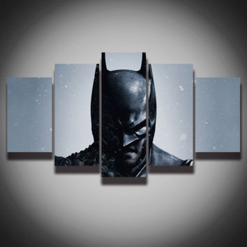 Printed movie picture Cool Batman painting on canvas dark knight 5 panels wall decor for baby kids room Canvas art print poster