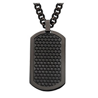 "Black Grille Dog Tag - Stainless Steel 2"" Onyx Brushed Pendant with Chain"