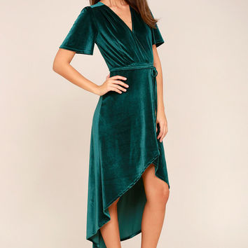 Amour Teal Green Velvet High-Low Wrap Dress