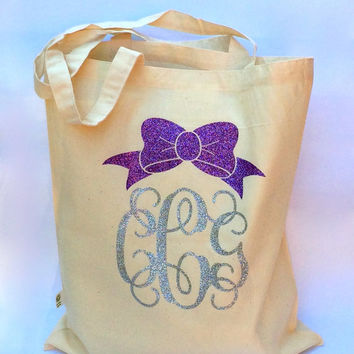 Glitter Monogrammed Tote Bag, Monogrammed Gifts, Reusable Personalized Grocery Tote, Book Bag, Beach Bag