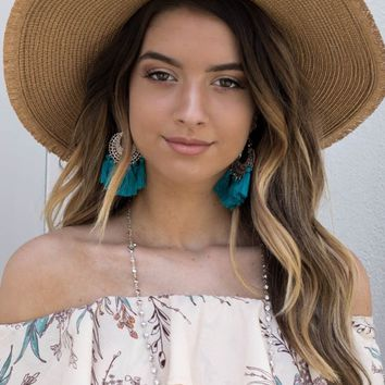 Teal Boho Tassel Earrings