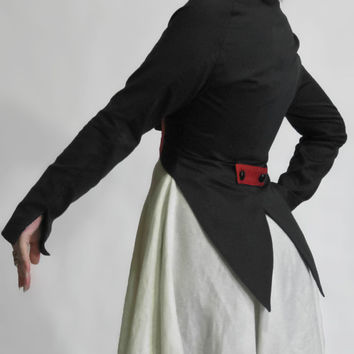 Black and Red Cropped Bolero Jacket with Tails