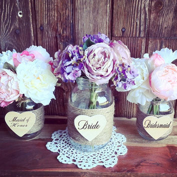 Rustic Wedding Heart Engraved Wood Heart Bride Heart Maid Of Honor Heart Bridesmaid Heart Bouquet Holder Bridal Party Gift Tags Rustic