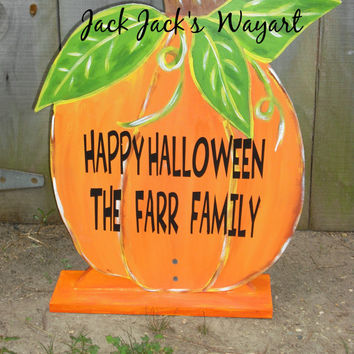 Fall pumpkin Halloween decorations Pumpkin garden art  Yard stake Rustic wedding decorations Fall door hangers  © Jack Jack's Wayart
