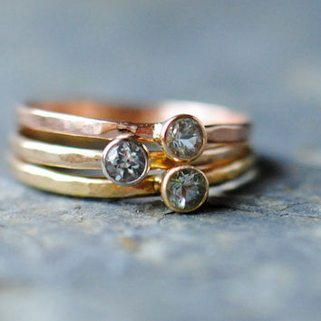 Genuine Faceted Aquamarine Stacking Rings by DalkullanJewelry