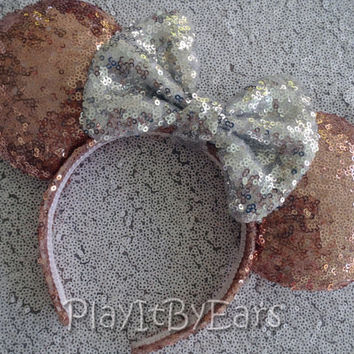 "Rose Gold Diamond Super Sparkle ""Starlight Collection"" Handmade Custom Mouse Ears inspired by Disney"