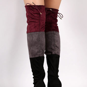 Suede Tri-color Over-The-Knee Chunky Heel Boots