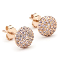 Crystal Pave Round Domed Stud Earrings Rose Gold Vermeil over Sterling Silver - Constellations