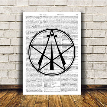 Pentacle print Awen art Occult poster Modern decor RTA189