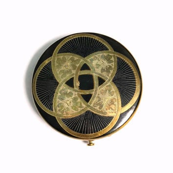 Rare Dorset Fifth Avenue Compact | Art Deco Style Vintage Powder Compact | 1940s Compact | Black And Brass Makeup Compact