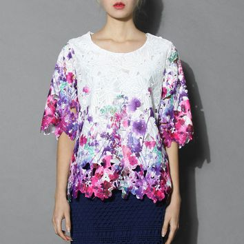 Violet Full Flower Cutout Top