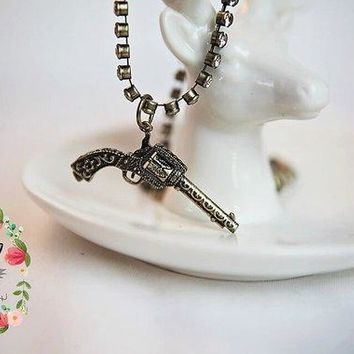 Pistol Gun Revolver Necklace