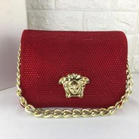 HCXX V0007 Versace Suede Diamante Chain Type Carrying Handbag 24-11-18cm Red