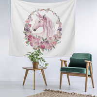 Pink Unicorn Floral Princess Custom Printed Unique Dorm Decor Apartment Decor Trendy Wall Art Printed Wall Hanging Wall Tapestry