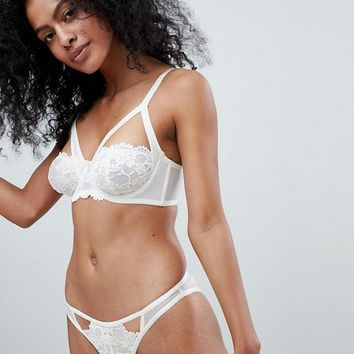 Wolf & Whistle Delicate Ivory Bra B - G Cup & Brief Set at asos.com