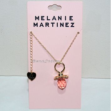 Licensed cool Melanie Martinez Pink Gem Baby Pacifier Cry Baby Necklace with Heart Charm NEW