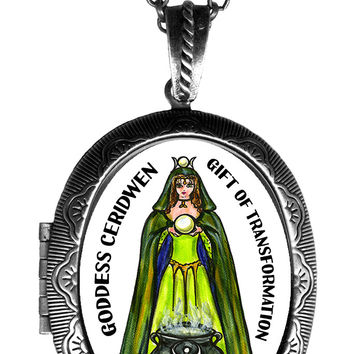 Goddess Ceridwen for Transformation Locket Pendant Empty or Solid Perfume