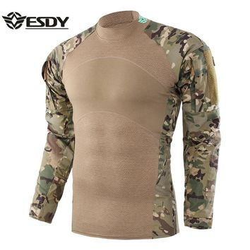Men New Tactical Shirt Outdoor Hunting Shirt Hunting Base Layer Camouflage Pattern Shirt Long Sleeve Hunting Clothes For Man
