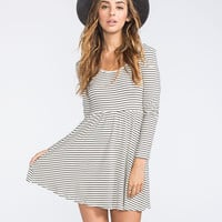 Full Tilt Stripe Skater Dress White/Black  In Sizes