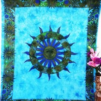 Sun Tapestry Wall Hanging Bedspread Blue Dorm Decor