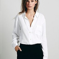 Free People Womens Puckered Buttondown