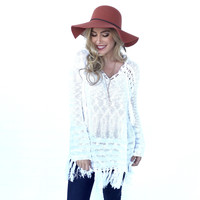 Fringe With Benefits Knit Tunic Sweater