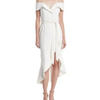 Alice + Olivia Josie Off-Shoulder Ruffle Wrap Dress