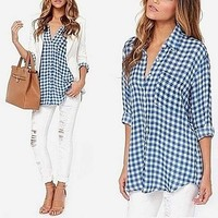 Buy Checkered Blouse in Blue and White & Red and Black by Amaryllis on OpenSky