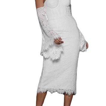 White Embroidered Lace Bell Sleeve Midi Party Dress