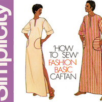 1970s Caftan Pattern Simplicity 6835 Unisex Pullover Tops Maxi Lounging Robe African Dashiki Tunics Men and Womens Vintage Sewing Patterns