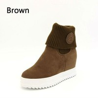 Height Increase Inside Shoes Solid Color Ankle Boots