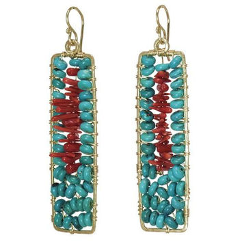 Turquoise and Red Coral Rose Gold Earrings