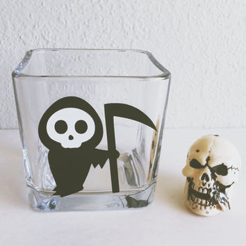 Cute Grim Reaper Glass Cube Votive // Candle Holder - Makeup Holder - Halloween Decor - Table Decor - Office Supplies