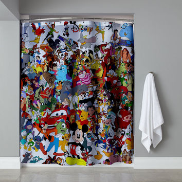 "New Best Disney All In One Collage Exclusive Design Shower Curtain 60""x72"""