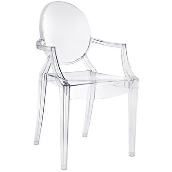 Clear Acrylic Stacking Dining Chair - Modern Ghost Style