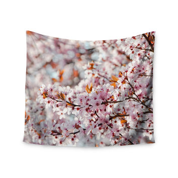 "Iris Lehnhardt ""Flowering Plum Tree"" Pink Blossoms Wall Tapestry"