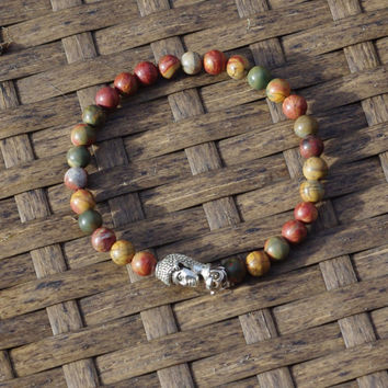 Men's Picasso Jasper Buddha Bracelet ~ Unisex Stone Jewellery ~ Healing Stones ~ Semi Precious Stones ~ Gift for Man ~ Unique Gift for Him