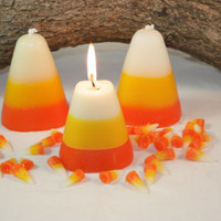 Candy Corn Candle, Haloween Candle, Fall Home Decor