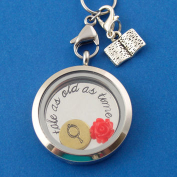 Beauty and the Beast Necklace - Belle Floating Locket Set - Memory Locket