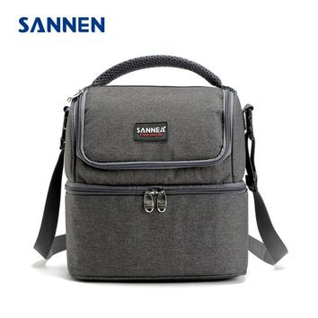 SANNEN 7L Double Decker Cooler Lunch Bags Insulated Solid Thermal Lunchbox Food Picnic Bag Cooler Tote Handbags for Men Women
