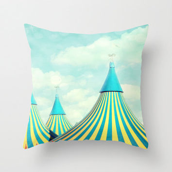 "Circus pillow,18x18 or 22x22 pillow ""Circus tent 2"" photograph,whimsical,cushion,home decor,tent,nursery decor,children's room,aqua,yellow"