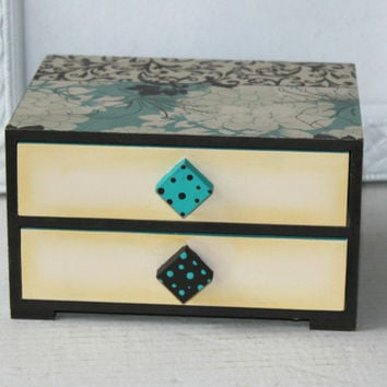 Mod Jewelry Chest , Patterned Jewelry Chest , Madeart What Not Box , Wood Dresser Box 2 Drawers Brown and Aqua , Store Beads or Jewelry