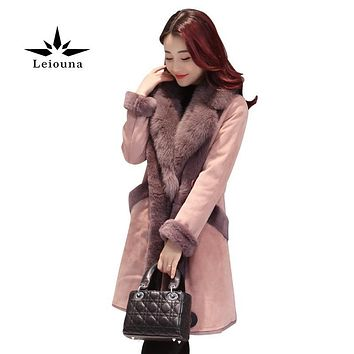 Leiouna New Women Jacket Real Raccoon Fur Collar Suede Lamb Wool Blends Coat Female Thick Warm Winter Clothes Parkas Basic