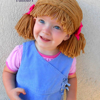 Cabbage Patch Wig Brown Pigtail Baby Hat