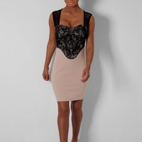 Margaret Nude & Black Lace Sweetheart Mini Dress | Pink Boutique