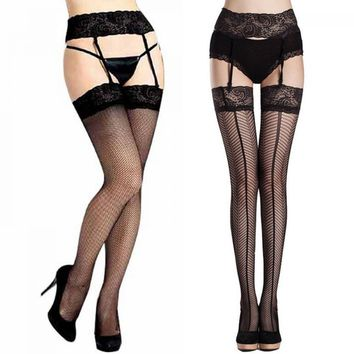 Sexy Women Wild Black Mesh Fishnet tight Lace Thigh-Highs Garter Belt Long Stockings 2 Fashion styles